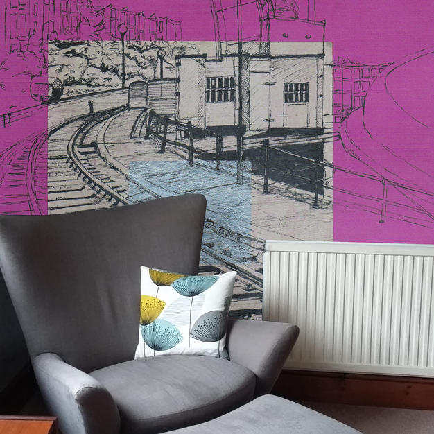Fairbairn Steam Crane on fuschia as Wallpaper
