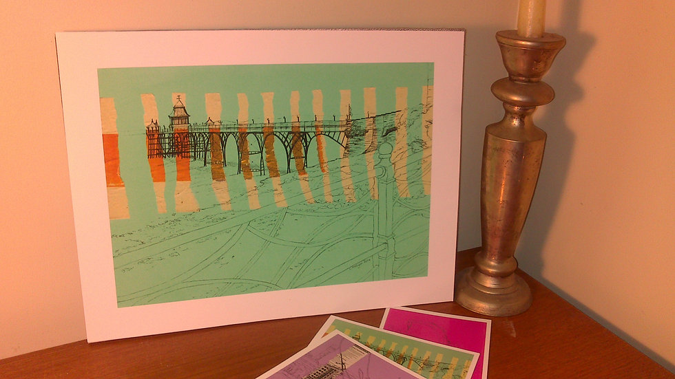 Art Print of Clevedon Pier on jade