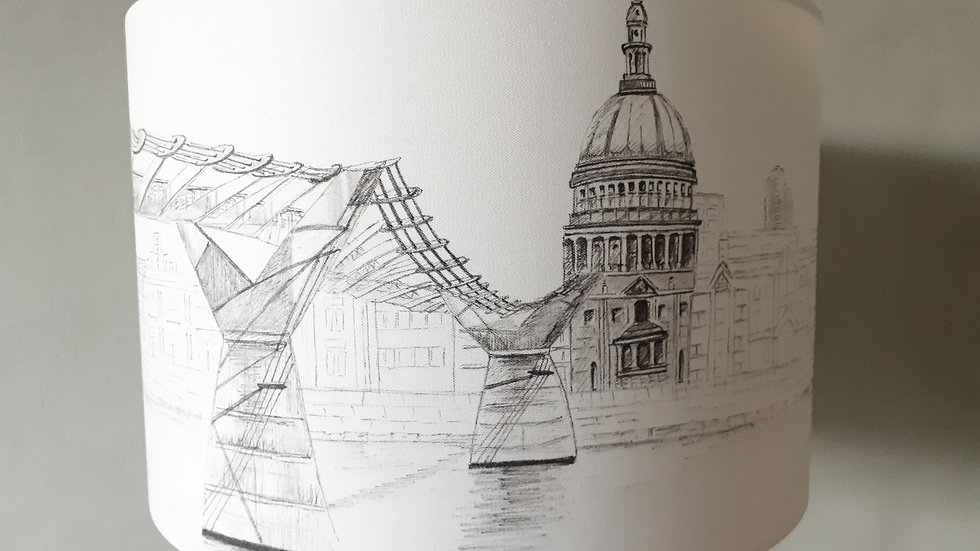 Hand-drawn lamp shade of St Paul's Cathedral, London