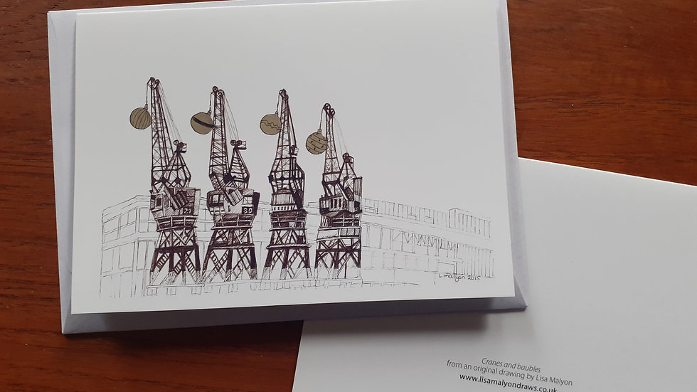 Bristol Harbourside Cranes and baubles Christmas Card