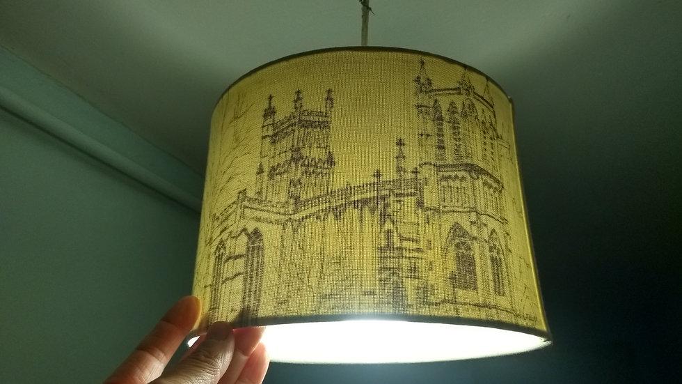 Hand-drawn ceiling shade of Bristol scenes