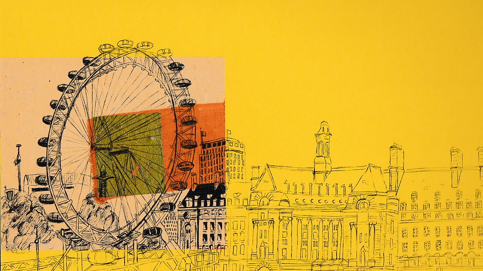Art Print of the London Eye on yellow