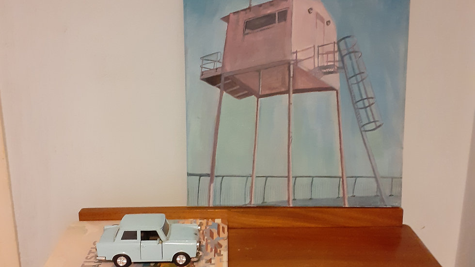 Oil Painting of pink lookout tower, Cardiff bay, Wales