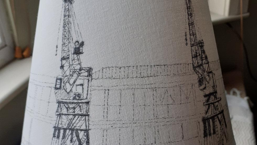 Hand-drawn lampshade of Bristol's Harbourside Cranes35