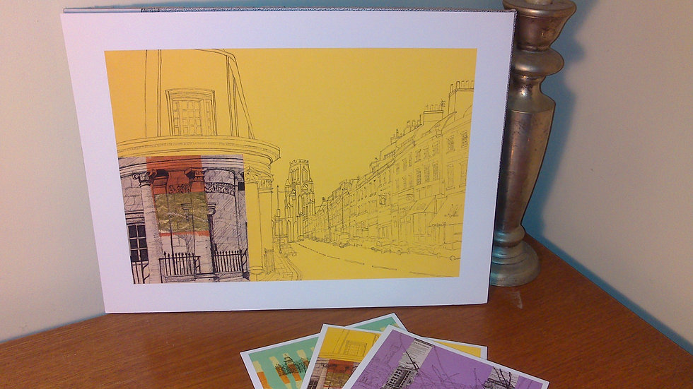 Art Print of Bristol's Park Street on yellow