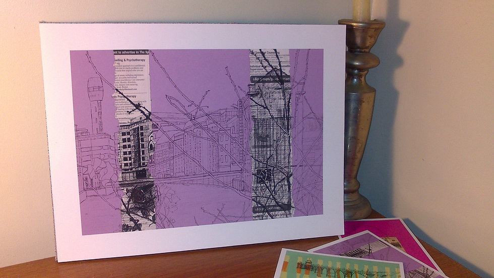 Art Print of Lead Shot Tower, Bristol, on lilac