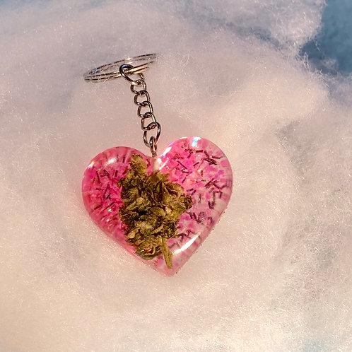 Hemp Pink Glitter Keychain
