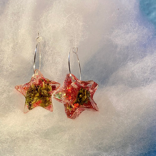 Hemp small Red Glitter Earrings