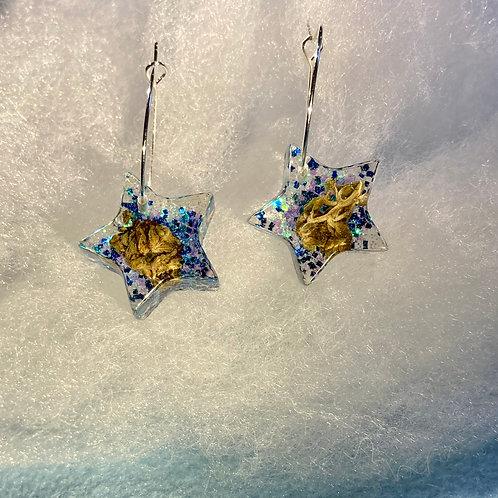 Hemp small Blue Glitter Earrings
