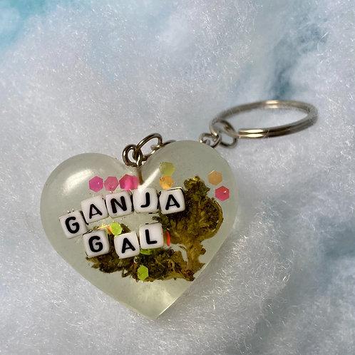 Hemp Ganja Gal Colorful Clear Keychain