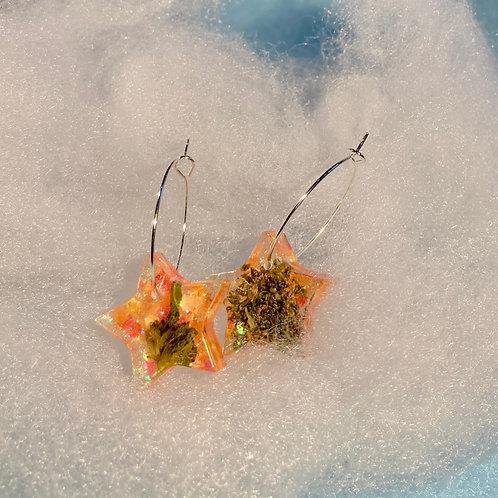 Hemp small Orange Glitter Earrings