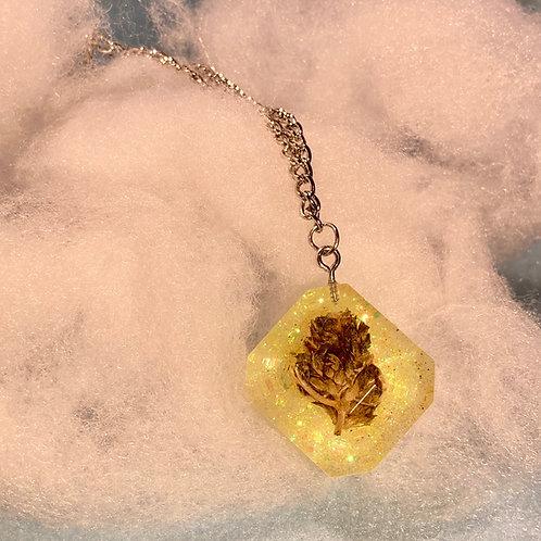 Hemp Yellow Glitter Necklace