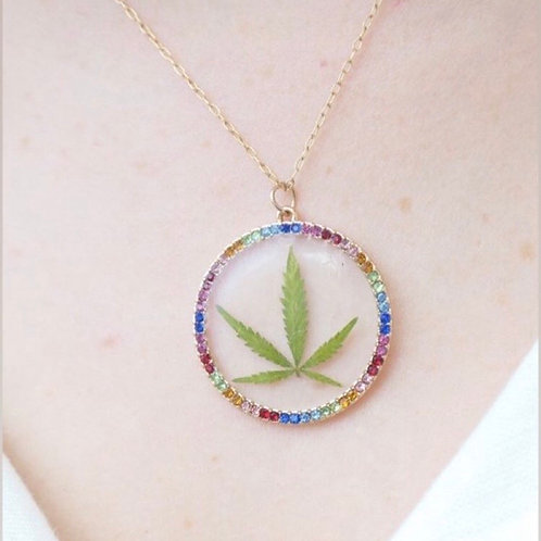 Hemp Leaf Gold Rainbow Necklace