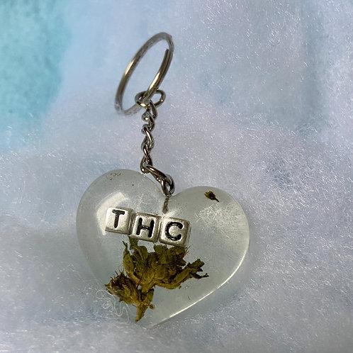 Hemp THC Silver Clear Keychain