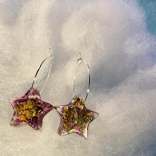 Hemp small Purple Glitter Earrings