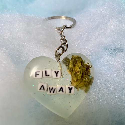 Hemp Fly Away Clear Keychain