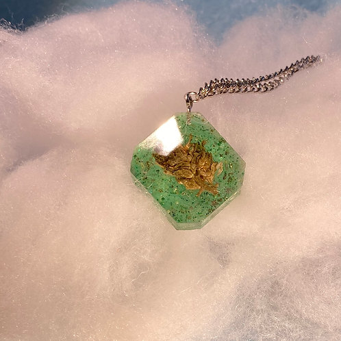 Hemp Green Glitter Necklace