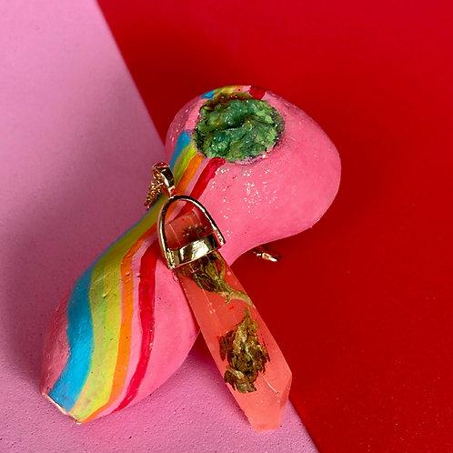 Pink Hemp Crystal Necklace