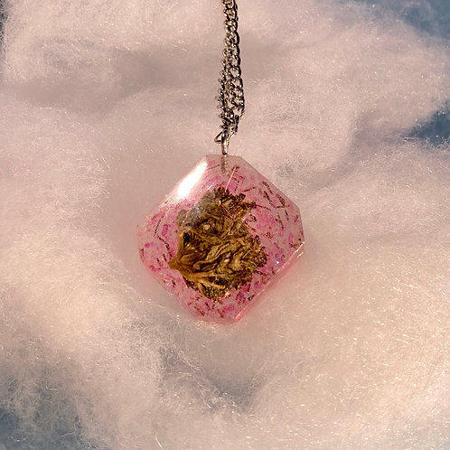 Hemp Pink Glitter Necklace