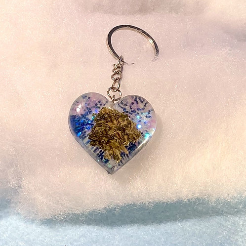 Hemp Blue Glitter Keychain