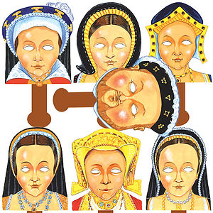 Tudor - Henry VIII and His Wives Role Play Face Masks