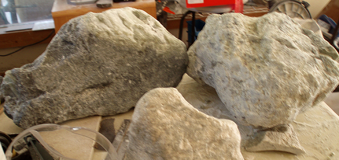 Raw stone from the mine.