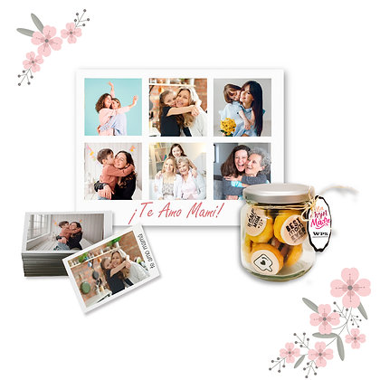 Kit Retablo 40x50cm - Collage + Frasco de Galletas + Fotos 10x15cm
