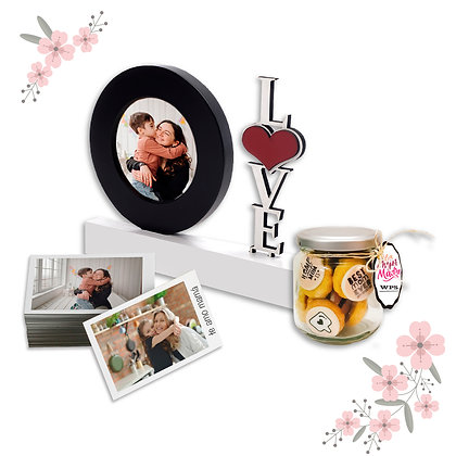 Kit Portarretrato LOVE Redondo + Frasco de Galletas + Fotos 10x15cm