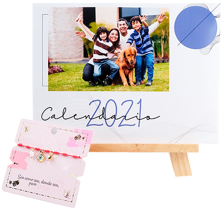 Calendario Caballete de 15cm x 20cm de 13 Fotos + Pulsera