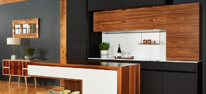 walnut & black kitchen