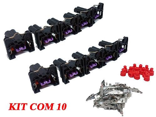 KIT Chicote Plug Conector Bico Injetor Vw Fiat Gm Com 10 Un. SEM FIO