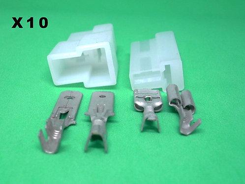 Kit Conector Capa E Terminal Macho E Fêmea 2 Vias Com 10 Un