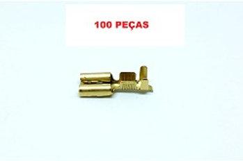 Kit Terminal Fêmea 6,3mm +Luva Pacote com 100