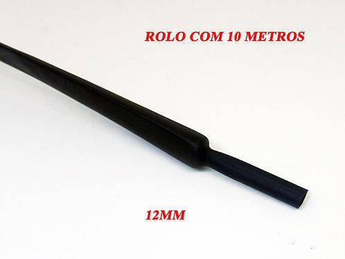 Termo Retrátil Preto Sem Cola 12,00MM² - Rolo Com 10 Metros
