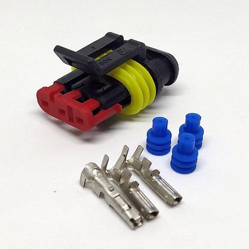 Kit Soquete Plug Conector Fêmea Kit De 3 Vias