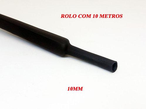 Termo Retrátil Preto Sem Cola 10,00MM² - Rolo Com 10 Metros