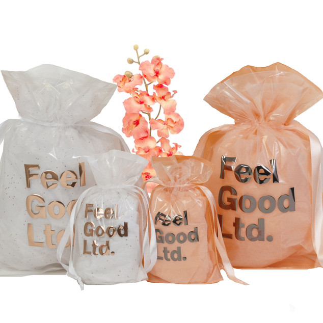 POLY POUCHES WHITE AND PEACH