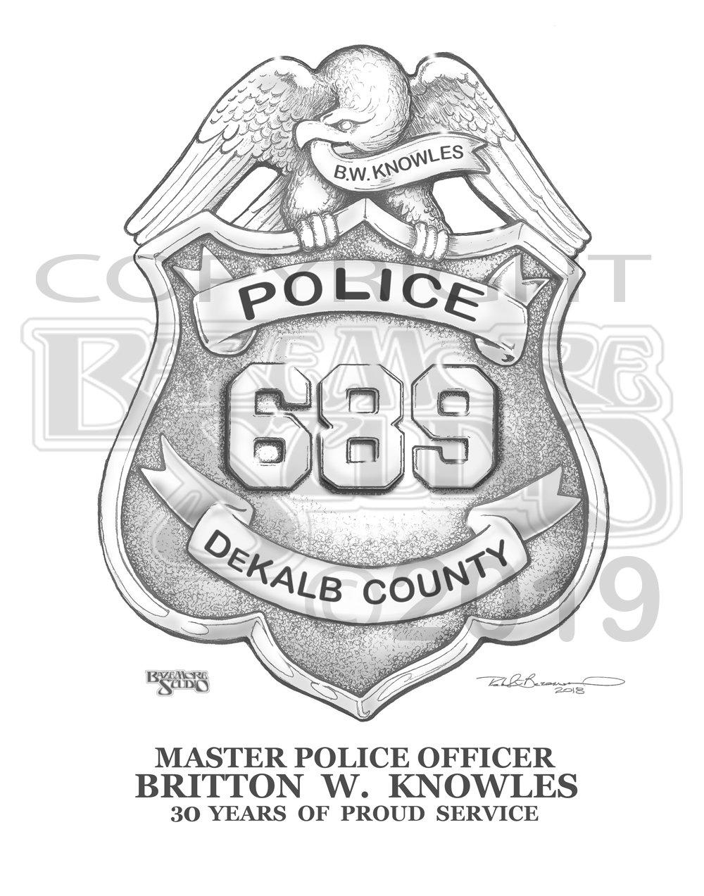 Personalized DeKalb Police Badge Art print