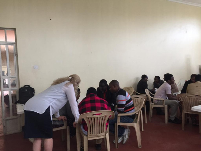 Joy teaching local teachers