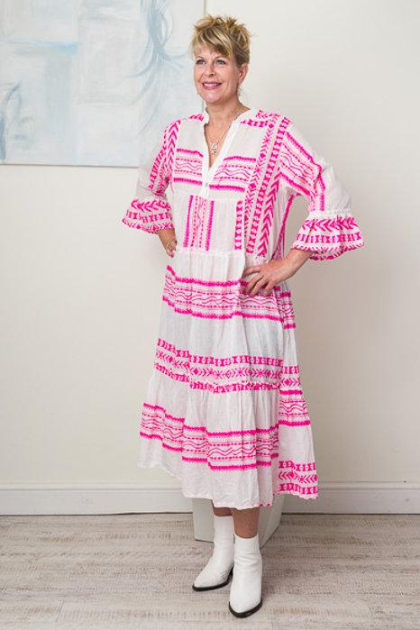 Pink aztec jacquard dress