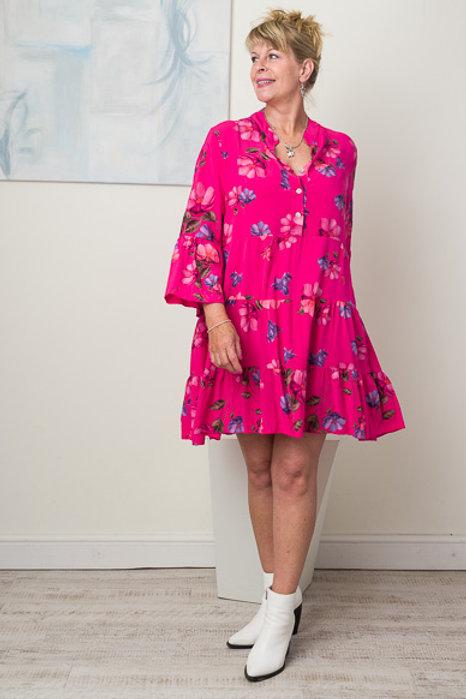 Cerise floral smock dress