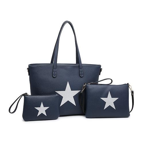 Large navy star bag