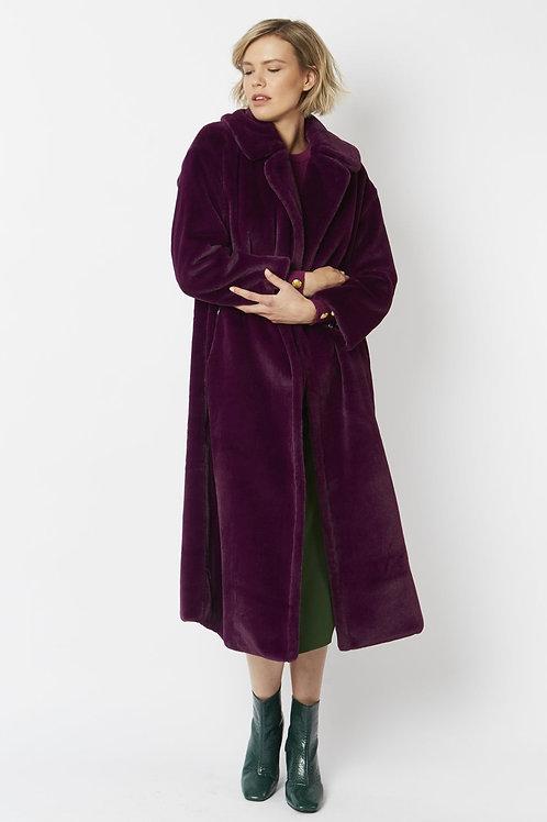 Purple maxi faux fur coat