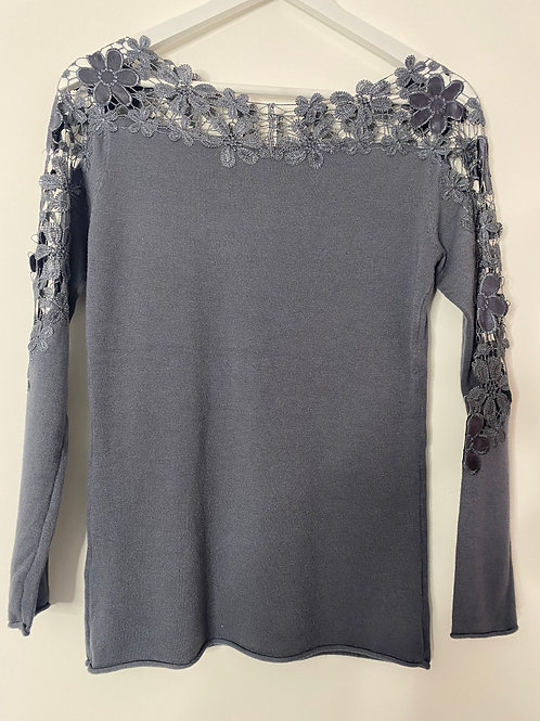 Grey lace trim top