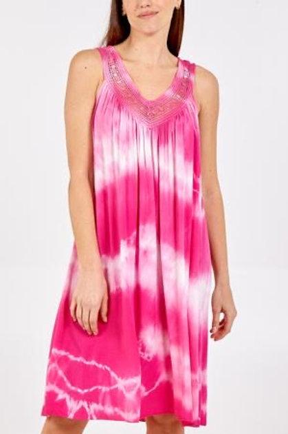 Hot Pink Tie Dye Crochet Neck Dress