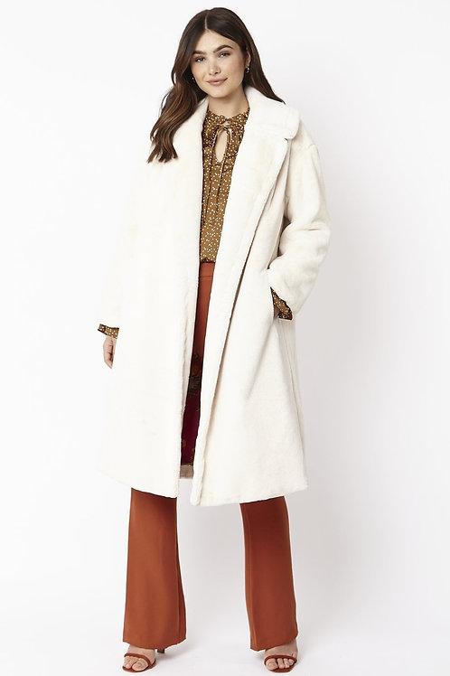 Cream midi faux fur coat