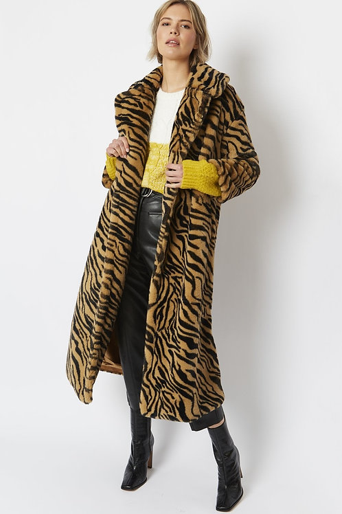 Animal maxi faux fur coat