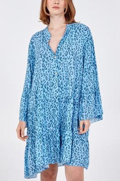 Blue digital leopard print dress