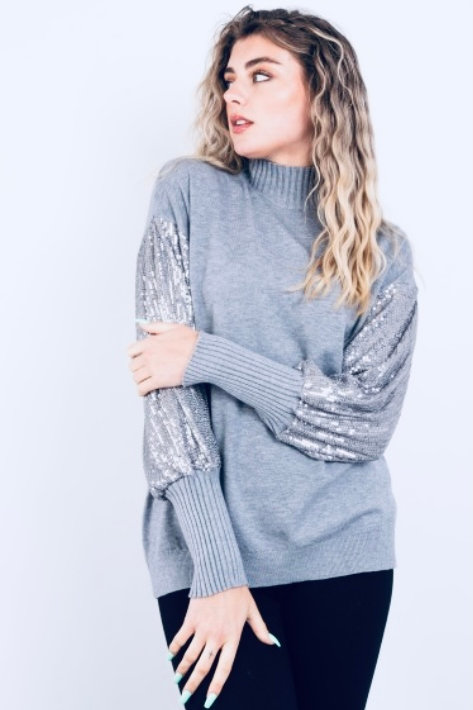 Grey sequin sleeve top