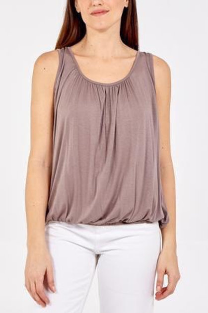 Taupe elasticated vest top